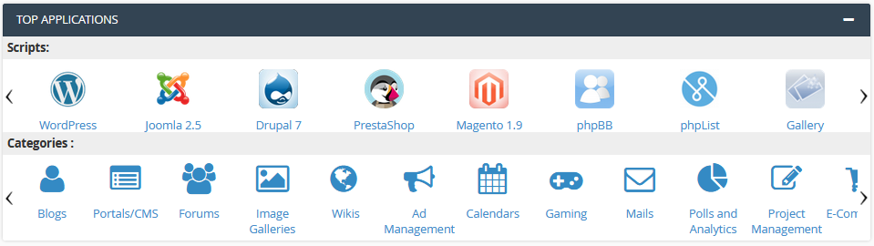 cPanel Applications Section