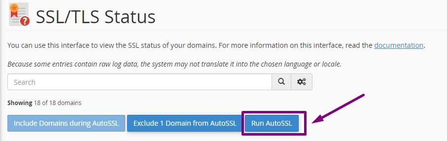 cPanel Run AutoSSL