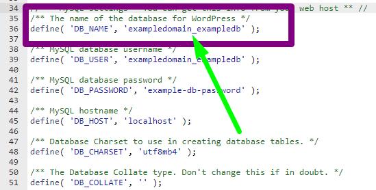 WordPress Database Name wp-config.php