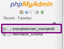 PHPMyadmin Your Database