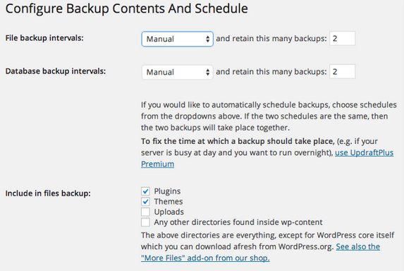 Updraft Plus Configure Backup Contents and Schedule