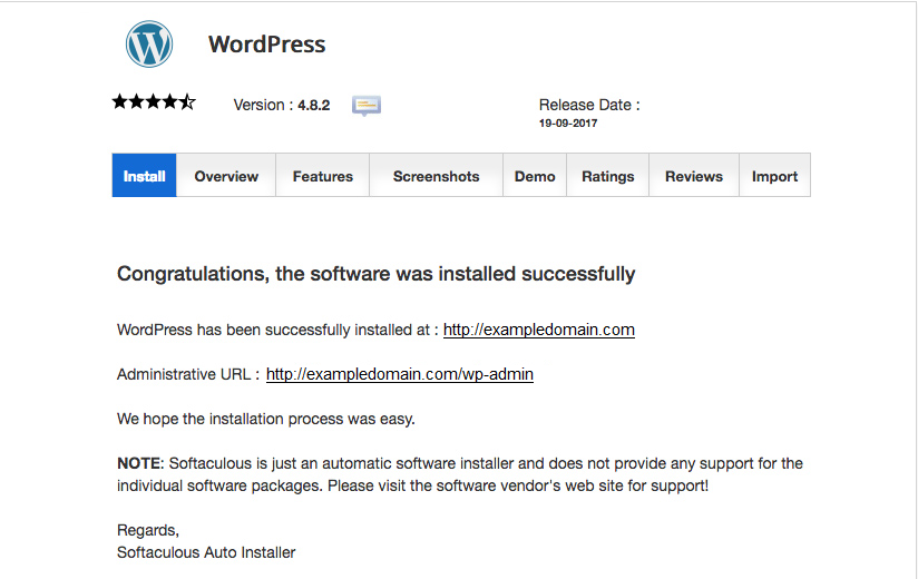 Softaculous WordPress Has Been Installed Successfully