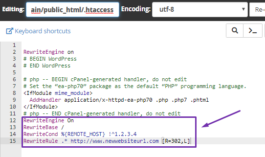 How to Redirect all Visitors Except One IP to Another Website