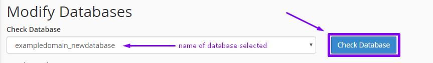 cpanel check mysql database for corruption