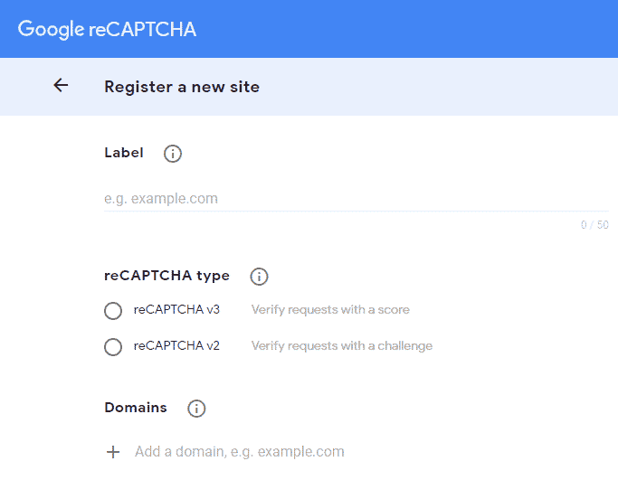 google recaptcha register a new site