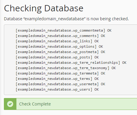 cpanel check and repair database